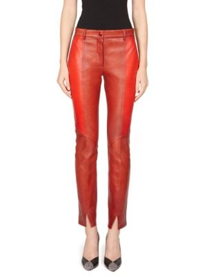 Colorblocked Leather Pants - Red Size 36 Fr in Brick