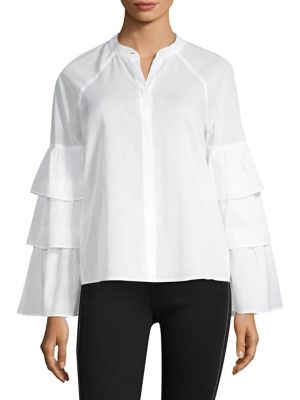 BCBG MAX AZRIA Tiered-Ruffle Sleeve Button Front Shirt in White
