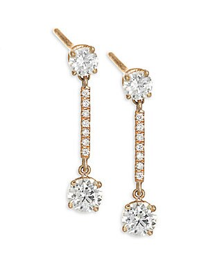 Image of Brilliant cut diamonds frame pavé bar drop earrings Diamonds, 0.54 tcw Diamond color: G Diamond clarity: VS2 18K rose gold Length, 1 Post back Made in USA. Fashion Jewelry - Modern Jewelry Designers. Anita Ko. Color: Rose Gold.