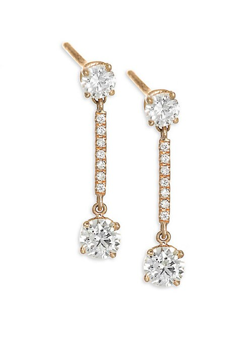"Image of Brilliant cut diamonds frame pave bar drop earrings. Diamonds, 0.54 tcw. Diamond color: G.Diamond clarity: VS2.18K rose gold. Length, 1"".Post back. Made in USA."