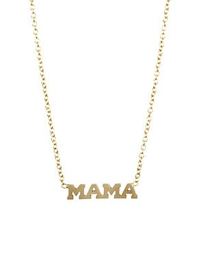 "Image of From the Itty Bitty Words Collection Delicate 14K yellow gold chain with chic MAMA text pendant 14K yellow gold Length, about 16"" Spring ring closure Made in USA. Fashion Jewelry - Modern Jewelry Designers. Zoe Chicco. Color: Yellow Gold."