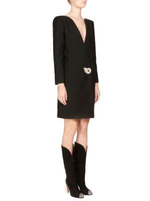 Wool & Mohair Brooch Detail Dress, Black