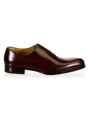 A. TESTONI Classic Leather Oxfords in Red Wood