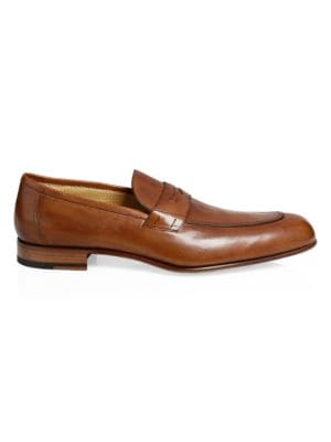 A. TESTONI Leather Penny Loafers in Caramel