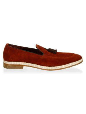 A. TESTONI Classic Suede Loafers in Redwood