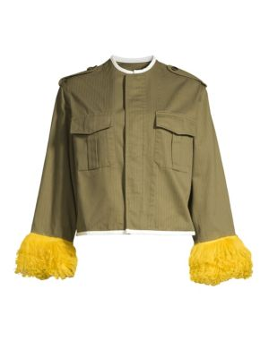 HARVEY FAIRCLOTH Special Editions Cropped Shearling Cuff Jacket in Olive