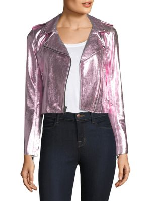 THE MIGHTY COMPANY Lecce Metallic Leather Biker Jacket in Metallic Pink