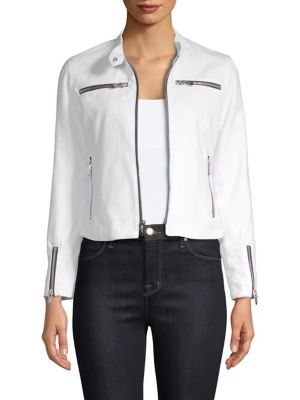 THE MIGHTY COMPANY Cropped Zip Jacket in White