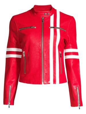 THE MIGHTY COMPANY Side Striped Leather Jacket in Red White