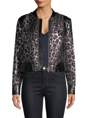 THE MIGHTY COMPANY Metallic Leopard Jacket in Brown