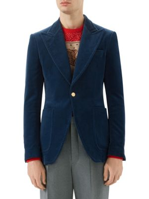 Royal-Blue Slim-Fit Stretch Cotton And Modal-Blend Velvet Blazer, Dark Blue