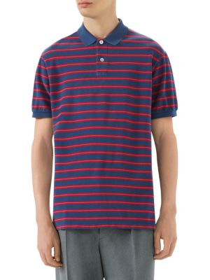 Stonewashed Stripe Cotton Polo Shirt, Inchiostro Blue