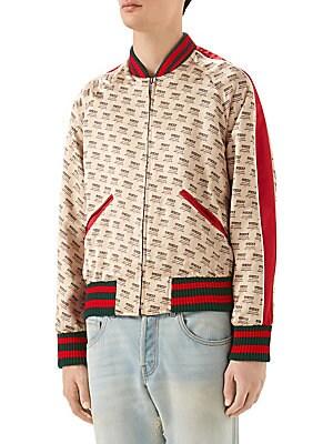 0914a49b57b2 Gucci - Logo Invite Stamp Silk Bomber Jacket