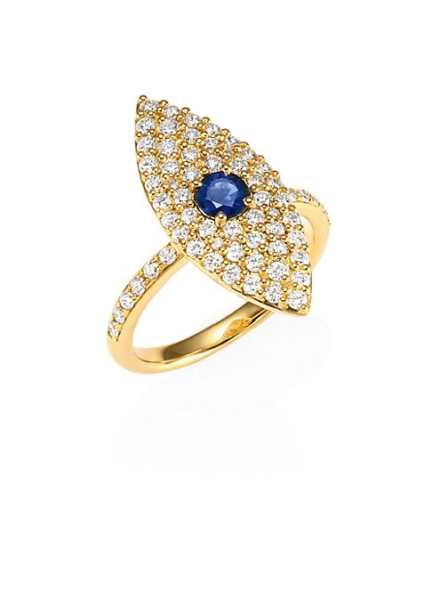 Image of Dazzling diamond and sapphire evil eye set on a gold band.18k yellow gold. Blue sapphire. Diamond clarity: VS2. Diamond color: G.Diamond, 0.65tcw. Made in USA.
