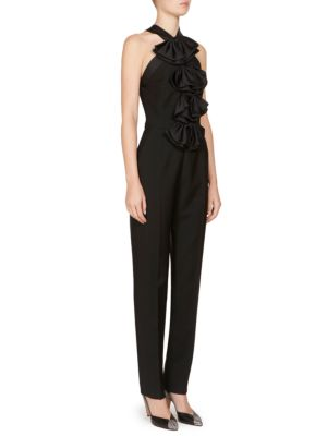 Bow-Embellished Mohair And Wool-Blend Jumpsuit, Black