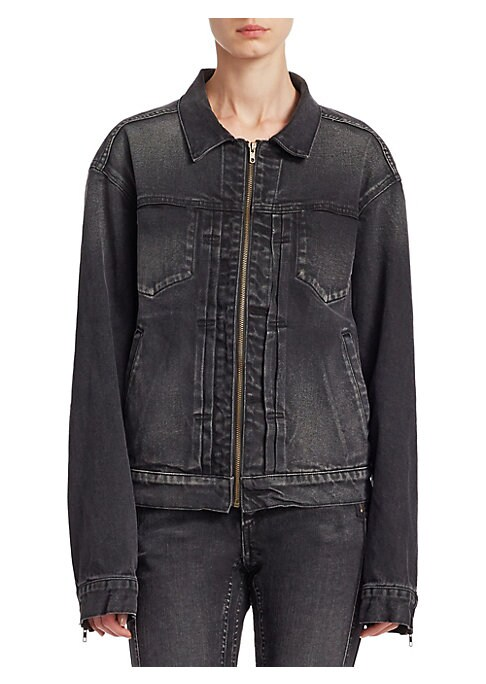 """Image of Classic denim jacket updated with zip front closure. Point collar. Long sleeves. Zipper front closure. Waist slash pockets. Chest pockets. About 24"""" from shoulder to hem. Cotton. Machine wash. Made in USA. Model shown is 5'10"""" (177cm) wearing US size 4."""