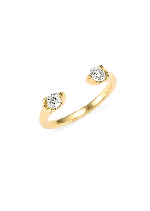 "Image of Brilliant-cut diamonds center open ring. Diamonds, 0.37 tcw. Diamond color: G.Diamond clarity: VS2.18K yellow gold. Diameter, about 0.75"".Made in USA."