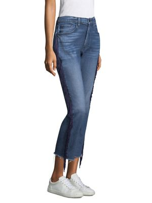 W3 Higher Ground Straight Crop Jeans With Fringe Sides, Spanish Fringe