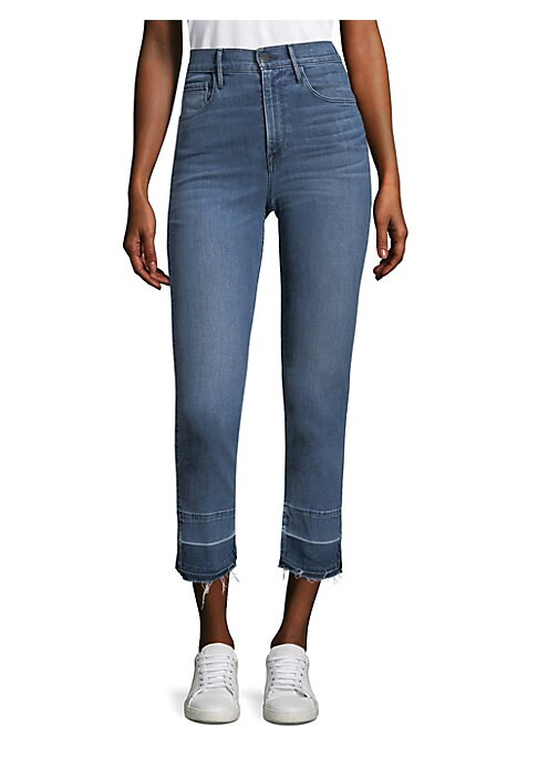 """Image of Cropped jeans with split hems. Belt loops. Zip fly with button closure. Five-pocket style. Frayed hem. Rise, about 10.5"""".Inseam, about 27"""".Leg circumference, about 13.75"""".Tencel/cotton/elastomultiester/elastane. Machine wash. Made in USA. Model shown is 5"""