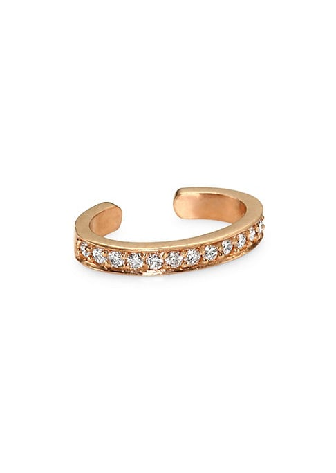 Image of Chic ear cuff with a single row of diamond pave. Diamonds, 0.12 tcw.18K rose gold. Slip-on. Made in USA.