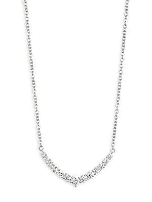 Image of Delicate chain necklace with curved diamond bar Diamonds, 0.85 tcw Diamond color: G Diamond clarity: VS2 18K white gold Length, about 18 Lobster clasp Made in USA. Fashion Jewelry - Modern Jewelry Designers > Saks Fifth Avenue. Anita Ko. Color: White Gold
