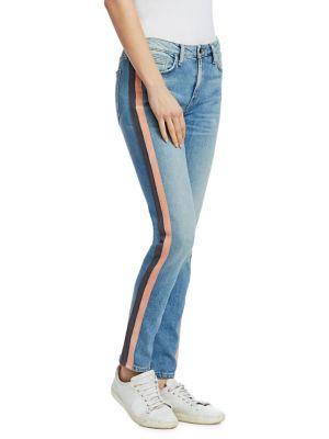 SANDRINE ROSE Hyde Tuxedo Stripe Skinny Jeans in By Water