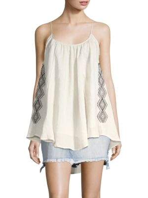 SANDRINE ROSE Magnolia Flowy Embroidered Tank in Colonial