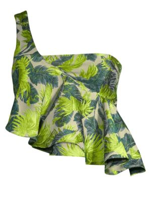 ROBERTA EINER Palm Tree Jacquard Top in Green