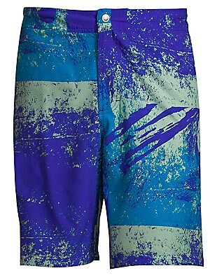 Image of 9 inch swim trunks with abstract graphic print Zip fly with snap closure Back buttoned welt pocket Rise, about 9 Inseam, about 10 Polyester Machine wash Imported. Men Adv Contemp - Contemporary Tops. Bonobos. Color: Blue. Size: 28.