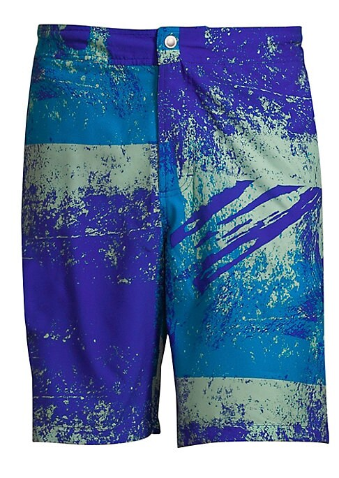 "Image of 9 inch swim trunks with abstract graphic print. Zip fly with snap closure. Back buttoned welt pocket. Rise, about 9"".Inseam, about 10"".Polyester. Machine wash. Imported."