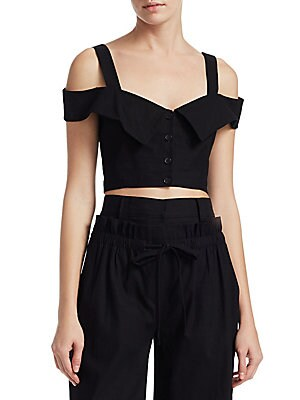 """Image of Cropped cold shoulder top with button-front Sweetheart neckline with foldover overlay Short cold shoulder sleeves Button front About 15"""" from shoulder to hem Linen/viscose/elastane Hand wash Imported of Italian fabric Model shown is 5'10"""" (177cm) wearing"""