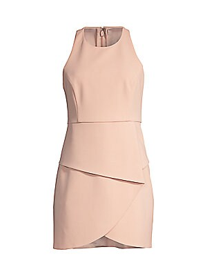 """Image of Alluring mini dress with strappy back and front overlay Roundneck Sleeveless Concealed back zip Self-tie at back About 34"""" from shoulder to hem Polyester/elastane crepe/polyester silky georgette Hand wash Imported Model shown is 5'10"""" (177cm) and wearing"""