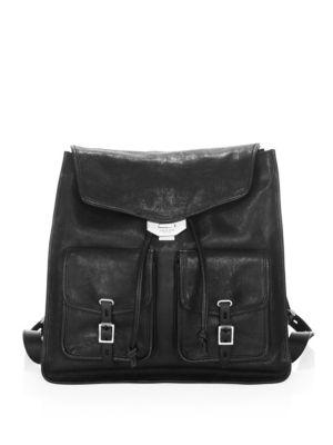 Field Lambskin Leather Backpack - Black
