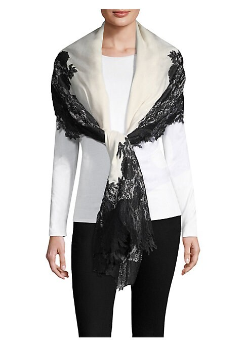 """Image of Beautiful floral lace trims delicate silk and cashmere wrap.40""""W x 80""""L.Silk/cashmere. Dry clean. Imported."""
