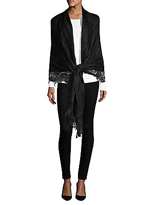 Image of Beautiful floral lace trims delicate silk and cashmere wrap 40W x 80L Silk/cashmere Dry clean Imported. Soft Accessorie - Scarves > Saks Fifth Avenue. Bindya. Color: Black.