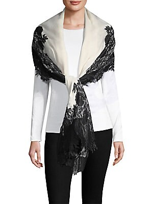 Image of Beautiful floral lace trims delicate silk and cashmere wrap 40W x 80L Silk/cashmere Dry clean Imported. Soft Accessorie - Scarves > Saks Fifth Avenue. Bindya. Color: Ivory Black.