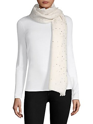 Image of Scattered crystals embellish lightweight silk blend wrap 40W x 80L Wool/silk Dry clean Imported. Soft Accessorie - Scarves. Bindya. Color: Ivory.