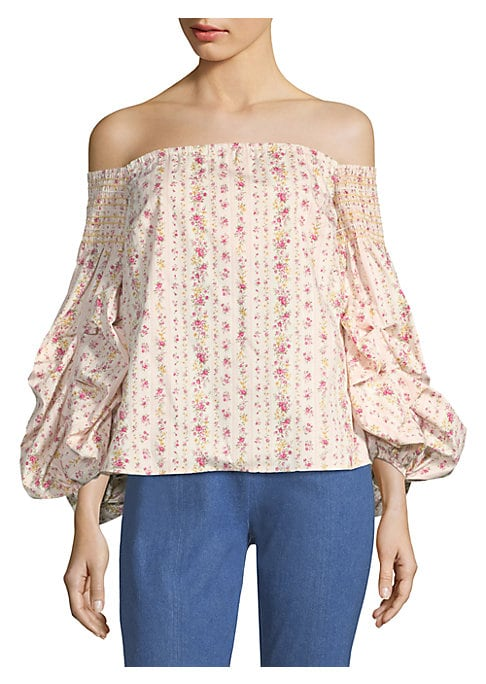 """Image of EXCLUSIVELY AT SAKS FIFTH AVENUE. Floral off-the-shoulder top finished with statement puffed sleeves. Off-the-shoulder. Long sleeves. Pullover style. About 21"""" from shoulder to hem. Cotton. Dry clean. Imported. Model shown is 5'10"""" (177cm) wearing size Sm"""