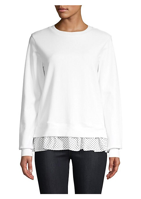 """Image of Cotton sweatshirt with polka dot printed trim. Roundneck. Long sleeves. Pullover style. About 26"""" from shoulder to hem. Cotton. Dry clean. Made in USA. Model shown is 5'10"""" (177cm) wearing US size 4. ."""
