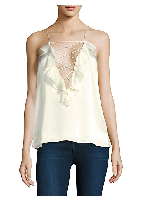 """Image of Flirty ruffles trim plunging lace-up camisole. Lace-up plunging v-neck. Spaghetti straps. Pullover style. Racerback. Silk. Dry clean. Imported. SIZE & FIT. About 23"""" from shoulder to hem. Model shown is 5'10"""" (177cm) wearing US size Small."""