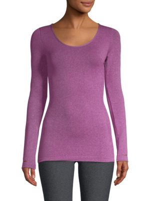 PHAT BUDDHA South Village Long Sleeve Top in Heathered Blueberry