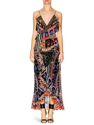 V-Neck Sleeveless Long Printed Wrap Dress W/ Frills, Dancing On My Own