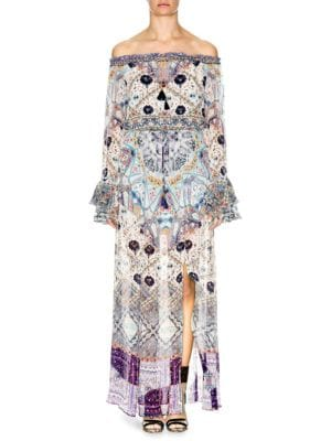 Camilla  Off-The-Shoulder Bell-Sleeve Maxi Dress