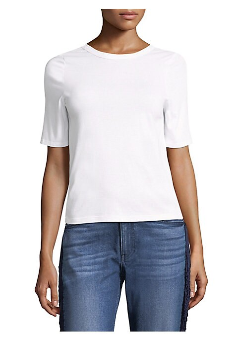 """Image of Crewneck cotton tee updated with twist open back detail. Crewneck. Short sleeves. Pull on style. Open V-neck at back with twist detail. About, 20.5"""" shoulder to hem. Cotton. Machine wash. Imported. Model shown is 5'10"""" (177cm) wearing size Small."""