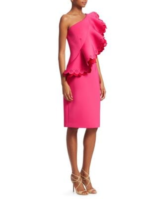 NERO BY JATIN VARMA Ruffled One-Shoulder Knee-Length Dress in Fuschia Red