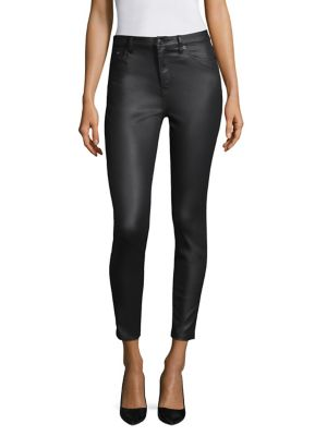 Mid-Rise Cropped Skinny Faux-Leather Pants in Black