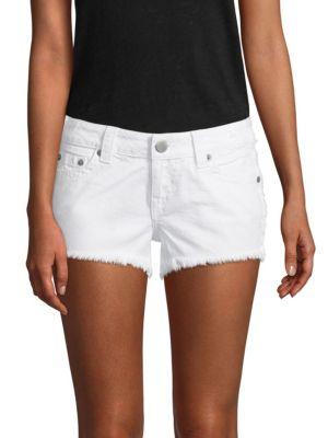 Keira Fray Denim Shorts In Optic White, Dau Optic White