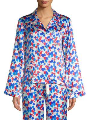 Ruthie Painted Tulip Silk Pajama Top, Multi