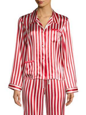 Americana Ruthie Long-Sleeve Striped Silk Pajama Top, Cream Cherry