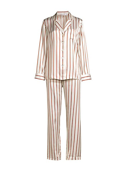 """Image of Luxe silk pajama set finished with timeless stripes. Silk. Hand wash. Imported. TOP. Notched collar. Long sleeves. Front button close. Chest patch pocket. Button cuffs. Shirttail hem. About 28"""" from shoulder to hem. BOTTOMS. Drawstring waistband. Slip-on"""